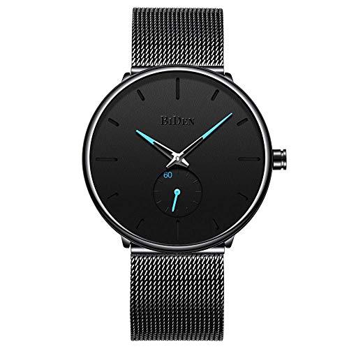 GOHUOS Herren Quarz Uhr mit Milanese-Band, Schwarzes Zifferblatt Einfache Uhr Analog wasserdichte Geschäftsuhren
