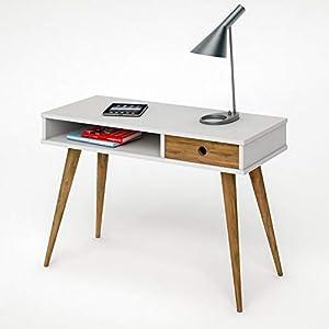 hogar24–Studio scrivania in Legno Colore Bianco E Legno Naturale, Stile Vintage. Misure: 110X 55X CM 77