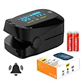 Smart Saver Pulse Digital Premium Fingertip Oximeter Blood Oxygen Saturation Monitor with Alarm, Beep and Plethysmograph and Perfusion Index Finger SpO2 Tracker (Black)