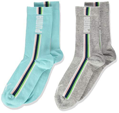 PUMA Seasonal Stripe Girl's Socks (2 Pack) Calzino Casual, Melange Grigio, 35/38 Unisex-Bambini