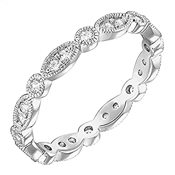 PAVOI 14K White Gold Plated Rings Cubic Zirconia Band | Round Milgrain Eternity Bands | White Gold Rings for Women Size 8