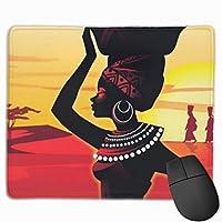 美しいアフリカの女性のマウスパッド滑り止めゴム製ゲーミングマウスパッドマットコンピューターのラップトップ30x25 cm