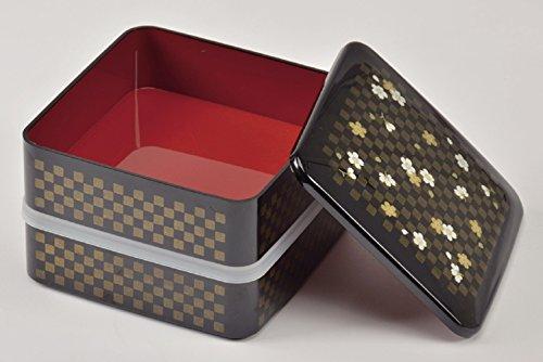 パール金属日本製お重箱角型二段Mサイズシール蓋付山中塗り市松花さくらD-467