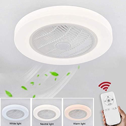 Cxjff Deckenventilator mit Lampe, verbesserte Version der Umlauf Windrad 36W Kreative unsichtbaren Fan LED-Deckenleuchte Fernbedienung Drei Farbtemperatur Ultra-Quiet Can Be Timed Fane Kronleuchter