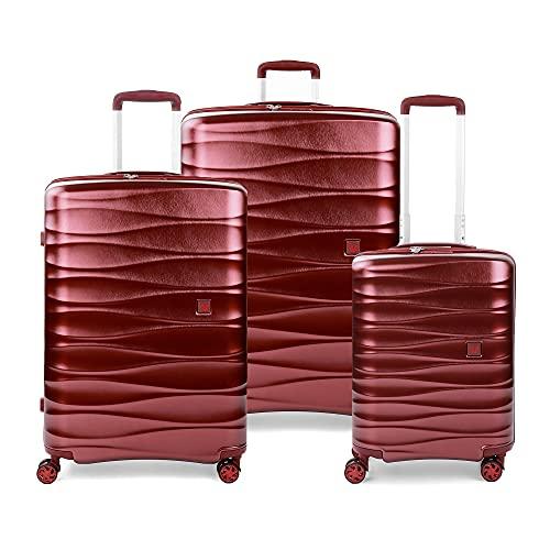 RONCATO Stellar - Juego de 3 maletas rígidas ampliables con 4 ruedas con TSA rojo oscuro