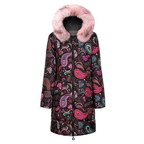 Xmiral Mäntel Damen Baumwolle Gepolstert Nationaler Stil Drucken Damen Kapuzenmantel Steppjacke Große Größe Daunenjacke Trenchcoat(Rosa,S)