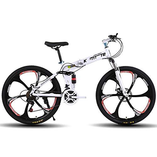 BEIGOO 26 Zoll Faltrad/Klapprad,Carbon Steel 21/24/27-Gang-Fahrrad mit Vollfederung MTB,Mountainbike Fully,Scheibenbremse vorne und hinten,Sport Mountainbike Erwachsene Fahrrad-Weiß-21Gang