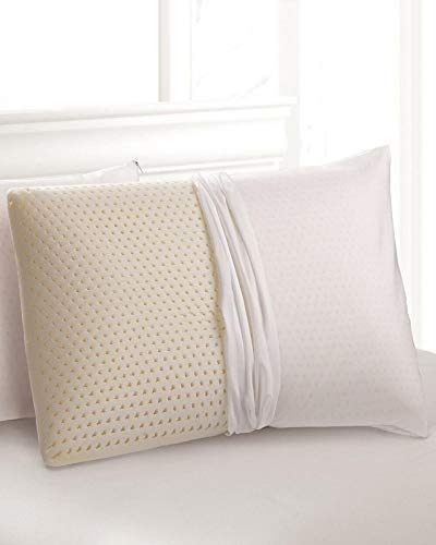 Standard 2-Pack All Natural Latex Pillow with Organic Cotton Washable Outer Covering - Medium Firm