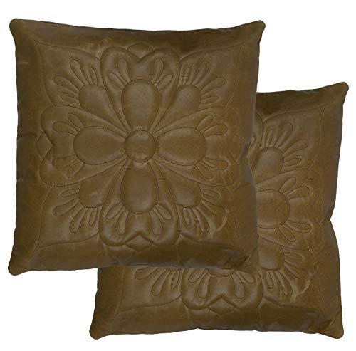 Charlie LONDON 2 x echt 100% borduurwerk bruin vintage lederen bank kussenhoezen huisdecoratie