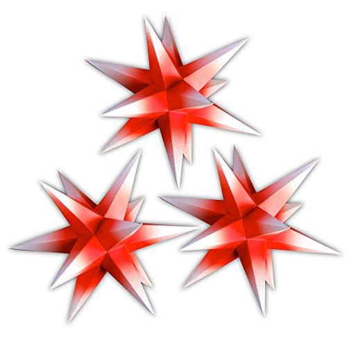 Sternschmiede 3er Set beleuchtete Papiersterne (Innen rot) Weihnachtssterne fürs Fenster (Nr200) Netzteil 3-Fach-Verteiler Fenster-Clip Distanz-Stab Stern 19cm Handarbeit für Innenbereich