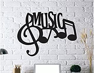 300Sparkles Music Letter Wall Art Cutout Wall Hanging Home Room Decor Wooden Frame Decor for Office, Home, Cafe, Party, Bl...
