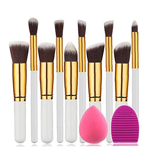 1set pinceau de maquillage Set fibres artificielles Soies cosmétiques Brosses de maquillage professionnel de beauté Outils d'or et blanc