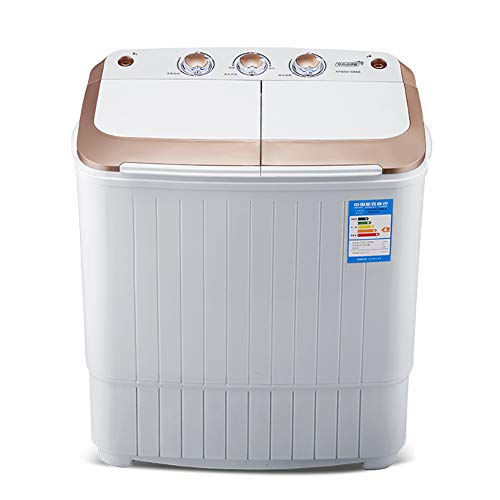 F-JX Haushalt Kleines Double Barrel Waschmaschine, Mini Lufttrocknung Elution Maschine, Tragbare frei aufstellbare Waschmaschine, Baby-Kleidung Unterwäsche Waschmaschine,Gold