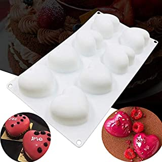 UG LAND INDIA 8 Cavity White Silicone Heart Cake Mold Non-Toxic Valentine's Day Cookies Chocolate Baking Mold Pastry Cake ...