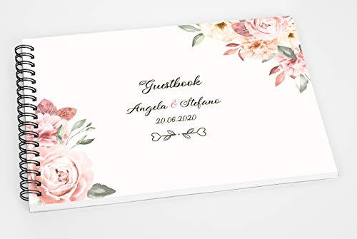 Guestbook matrimonio - libro dediche e auguri invitati personalizzato fiori peonie