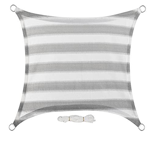 EUGAD Toldo Rectangular de 2 x 2 m, diseño de Rayas Grises y Blancas HDPE UV Block Balcón, Terraza Jardín Sail Shade Toldo con Cuerda...