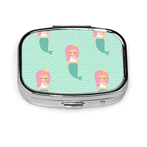 Color Fish Abstract Pattern Custom Fashion Silver Square Pill Box Medicine Tablet Holder Wallet Organizer Case for Pocket Or Purse Vitamin Organizer Holder Decorative Box