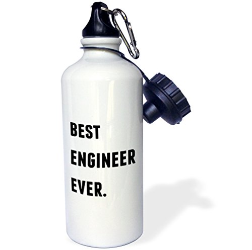 3dRose Best Engineer Ever, Black Letters On A White Background-Sports Water...