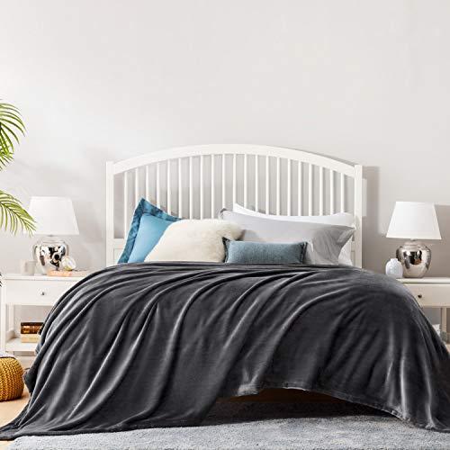 BEDSURE Decke Sofa Kuscheldecke dunkelgrau - XXL Fleecedecke für Couch weich & warm, Wohndecke flauschig 220x240 cm als Sofadecke Couchdecke