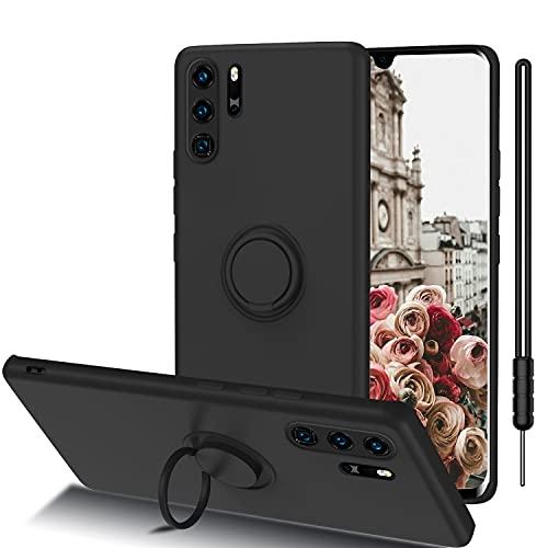Huawei P30 Pro New Edition Hülle, ORDA Handyhülle Huawei P30 Pro Ultra Dünn mit 360 Ring Holder Ständer Flüssig Silikon Soft Gel Matte Kratzfest Schutzhülle für Huawei P30 Pro New Edition Matt Schwarz