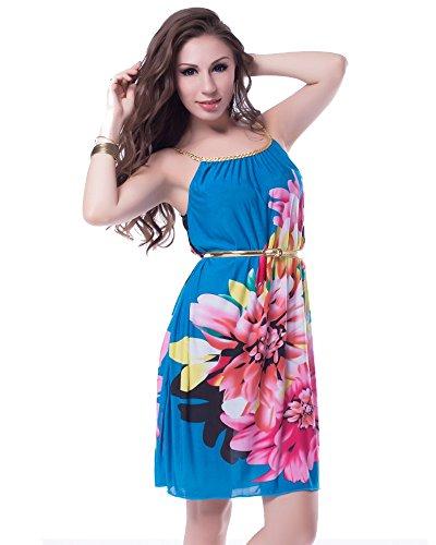lau-fashion dames bloemen strandjurk tuniek blauwe riem badmode zomer bikini S/M