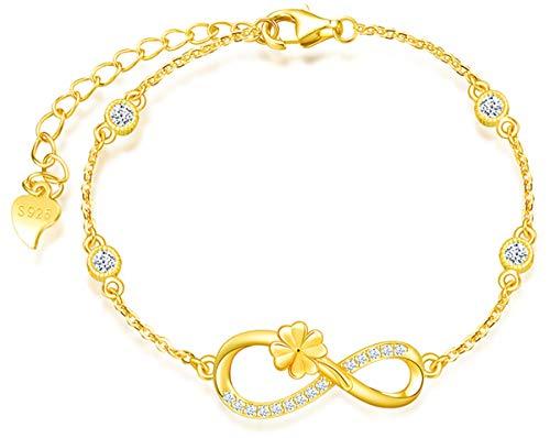 *Beforya Paris* - Infinity Klee - Pulsera ajustable - Con circonitas - De plata 925 / chapada en oro de 24 K - Preciosa pulsera para mujer con caja de regalo.