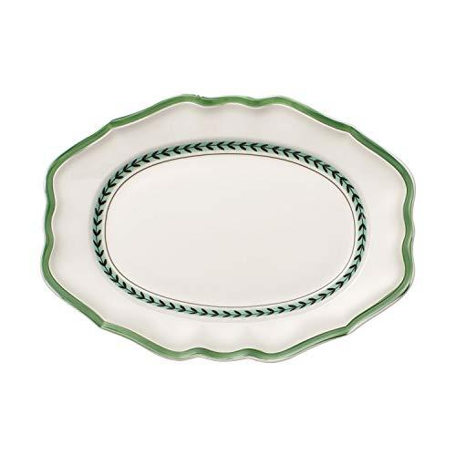 Villeroy & Boch French Garden Green Line Ovale Servierplatte, 37 cm, Premium Porzellan, Weiß/Grün