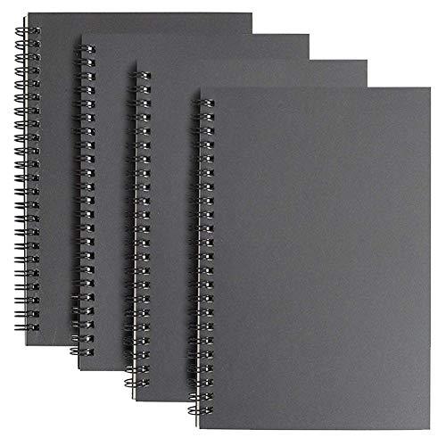 Cuaderno de bocetos Espiral A5, Bosquejo de Papel en Blanco Blocs de Notas Cubierta de Kraft, 100 Páginas, 50 Hojas Libreta Perfecto para Viajar, Pack de 4 - Negra