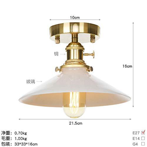 Plafondlamp van zuiver koper in Amerikaanse industriële stijl creatieve plafondlamp gemaakt van puur koper Retro XT0207 Gloeilamp White_LED melk