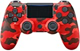 Wireless Controller for PS4 Remote for Sony Playstation 4 with Charging Cable and Double Shock(Red Camouflage,New Model)