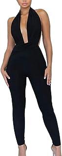 chenshiba-JP 女性のフォーマルノースリーブVネックホルター鉛筆バックレスロングパンツジャンプスーツ