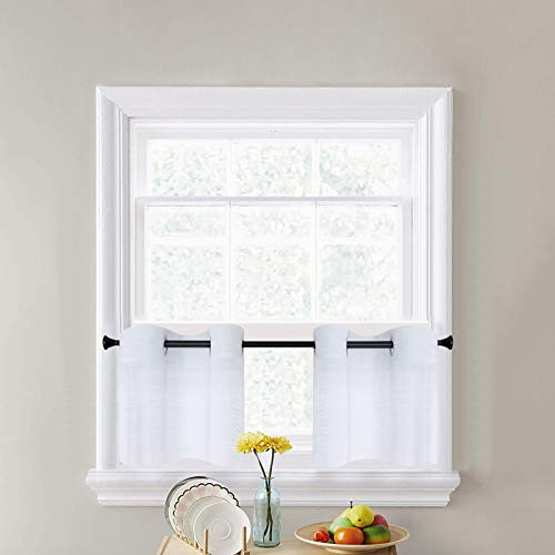 CUTEWIND White Sheer Tier Curtains for Bathroom Short Kitchen Tiers 24 Inches Long Linen Texture Grommet Top Small Half Window Treatment (2 Panels, White, W25×L24 Inches)