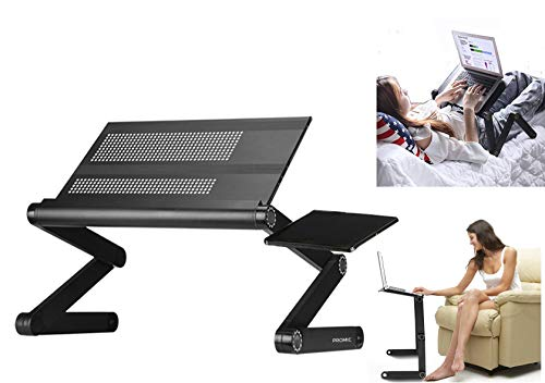 PROMIC Adjustable Laptop Desk Stand, Aluminum Laptop Bed Table Portable Standing Desk/Notebook Computer Monitor Riser/Folding Table, Non-Slip, w/Mouse Pad - for Bed Sofa Office Desk [Worth $42.95]