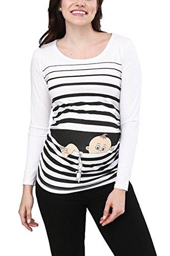 M.M.C. Baby Flucht - Lustige witzige süße Umstandsmode/Umstandsshirt mit Motiv für die Schwangerschaft/Schwangerschaftsshirt, Langarm (Weiß, Large)
