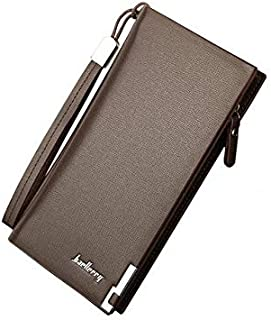 محفظة جلد صناعي من مادة بولي يوريثان للرجال - متعددة الاستخدامات - لون بني