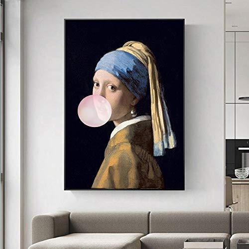 Das Mädchen Mit Dem Perlenohrring Leinwand Gemälde Berühmte Gemälde Kunstwerk Mädchen Mit Ballon-Pop-Art-Prints Bilder For Hauptdekor No Frame (Size : 21x30 cm No Frame)