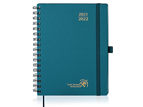 Agenda 2021 2022 Semainier env. A5 - Agenda Scolaire 2021 2022 Spirale (Août 2021 - Août 2022) avec Couverture Rigide, Pages Notes et d'adresses, 22 x 16,5 cm, Vert Pacifique