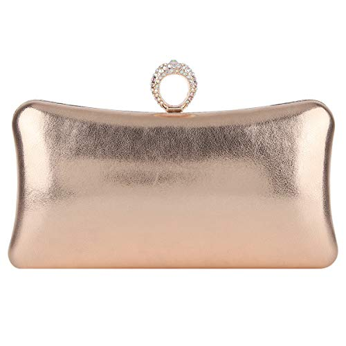 Fawzia Woman Evening Clutch With Rings Knuckle Purses And Handbag-Champagne