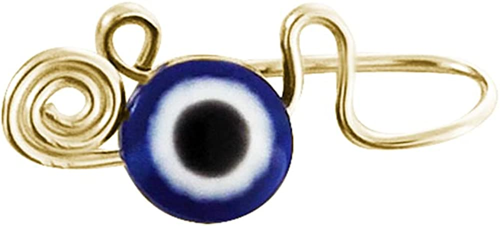 1 Piece Bohemian Evil Eye Swirl Clip On Nose Ring Non Piercing Faux Body Jewelry Circle Hoop Afrocentric Gypsy Personalized Dainty Protection Jewelry BFF Gifts Fashion (Gold)