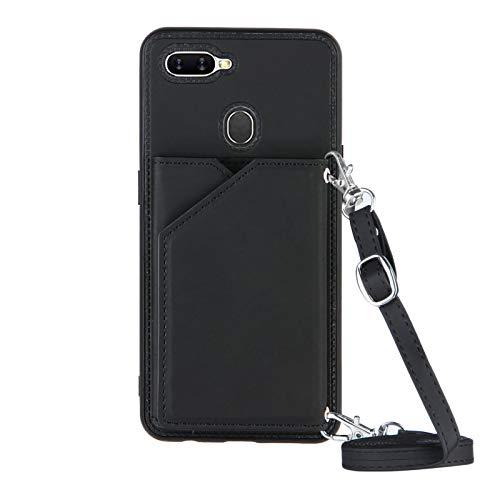 Cartera titular de la tarjeta de crédito con cordón Teléfono caso para OPPO A7/A5S/A12 (negro)