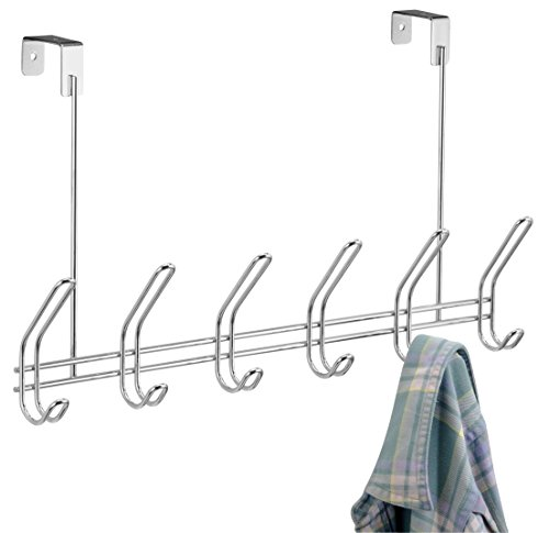 iDesign Classico Metal Over The Door Organizer, 6-Hook Rack for Coats, Hats, Robes, Towels, Bedroom, Closet, and Bathroom, 18.75' x 5' x 10.75', Chrome