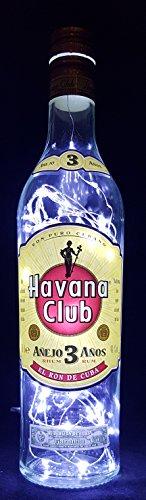 Havana Club - Flaschenlampe Lampe mit 80 LEDs Kaltweiß Upcycling Geschenk Idee