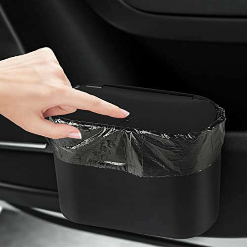 Accmor Upgraded Car Trash Can with Garbage Bag, Auto Mini Trash Bin with Lid Car Door Dustbin Vehicle Garbage Organizer Container for Automotive Cars Storage and Organization