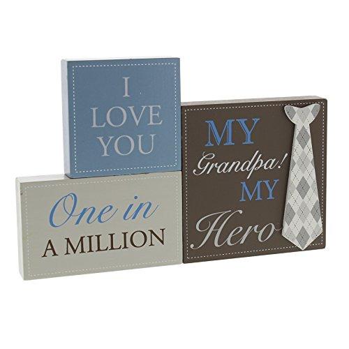 Lot de 3 blocs de plaques de cheminée avec motif cravate et textes en anglais «My Grandpa My Hero», «One in a Million», «I love you»