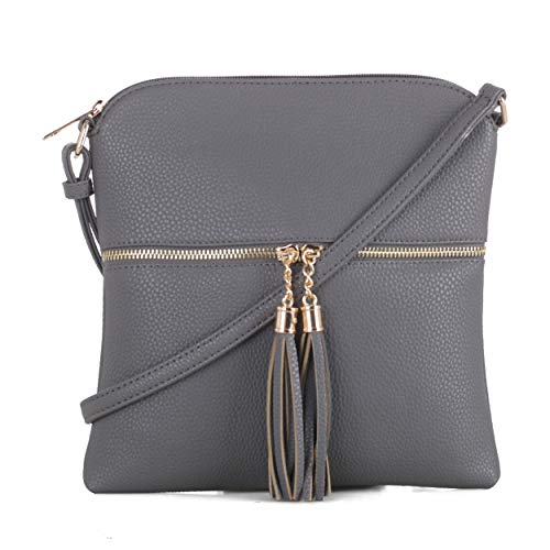 DELUXITY Women's Fashion Trendsetter Long Lightweight Crossbody Bag with Tassels -GY