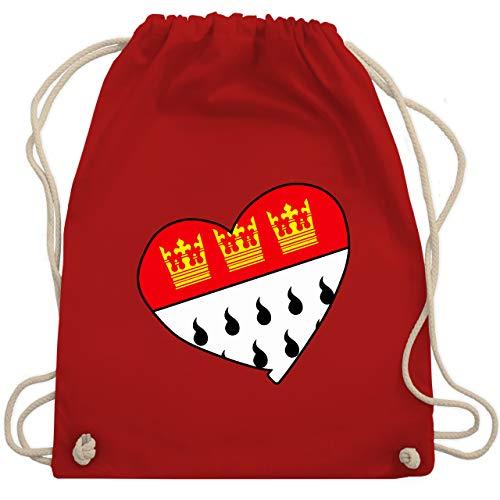 Shirtracer Karneval & Fasching - Köln Wappen Herz - Unisize - Rot - köln wappen - WM110 - Turnbeutel und Stoffbeutel aus Baumwolle