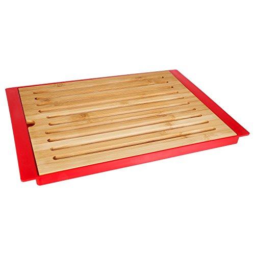 Secret de gourmet Planche à Pain en Bambou avec Plateau - Rouge