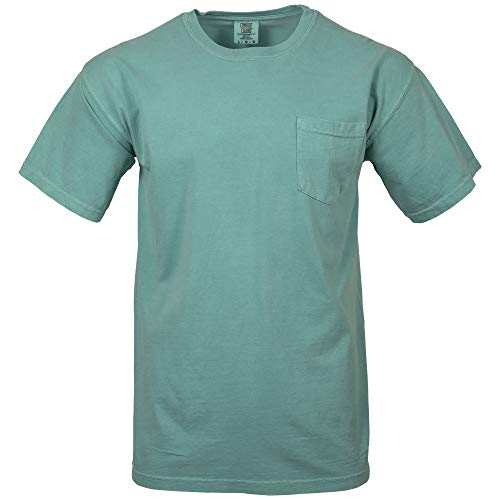 Comfort Colors Men's Adult Short Sleeve Pocket Tee, Style 6030, Sea Foam, Large