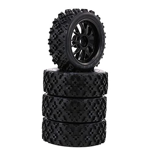 QiKun-Home 4pcs / Set 1:10 RC Neumáticos de Goma Star Word Fetal Flower Llanta de Rueda Todoterreno y neumáticos para 1:10 Racing Off Race Car Accesorios Negro