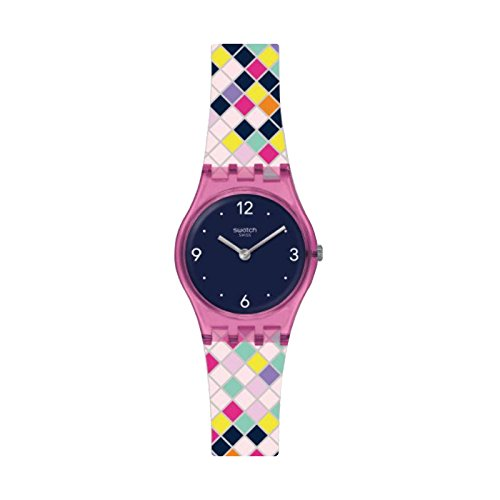 Swatch Damen Analog Quarz Uhr mit Silikon Armband LP153
